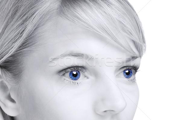 Résumé blond femme yeux bleus image visage Photo stock © RTimages