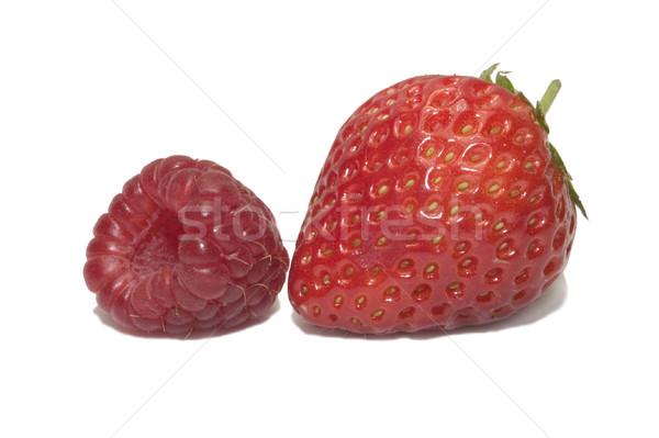 Fruits d'été fraise framboise isolé blanche été Photo stock © RTimages