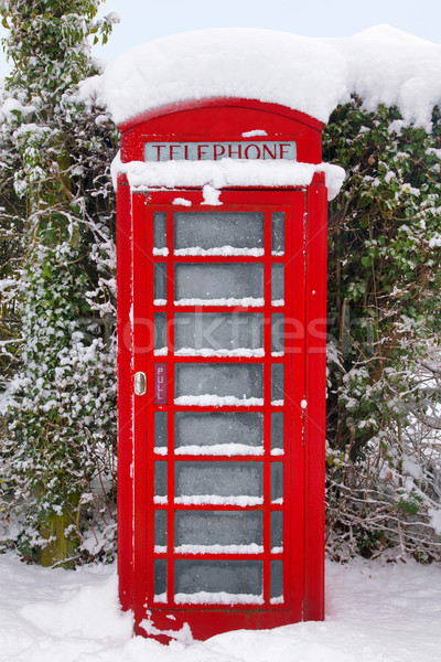 Rot britisch Schnee traditionellen Telefon Winter Stock foto © RTimages
