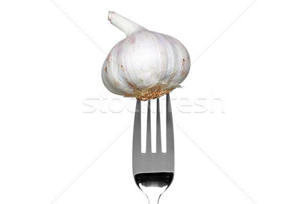 商業照片: 整個 · 大蒜 · 叉 · 孤立 · 白 · 照片