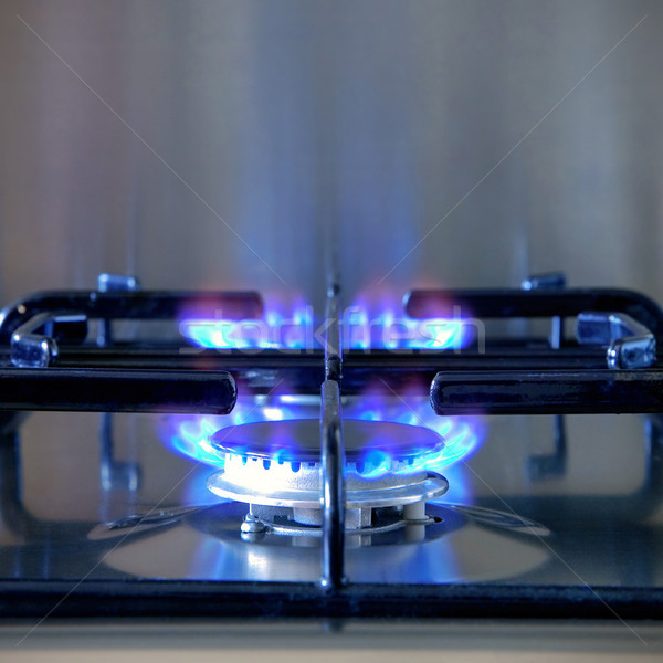 Two lit rings on a gas hob. Stock photo © RTimages
