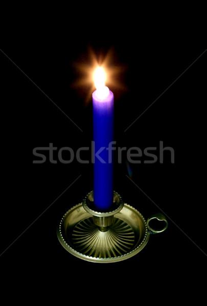 синий свечу латунь Stick подсвечник черный Сток-фото © RTimages