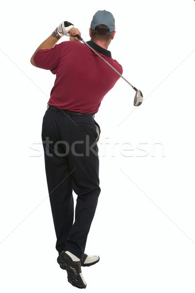 Foto stock: Jogador · de · golfe · de · volta · balançar · golfe · clube