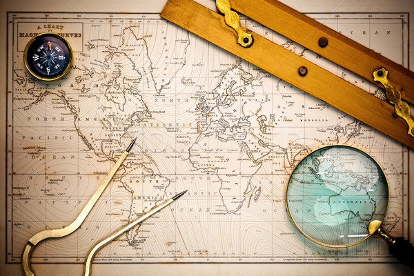 Old map and navigational objects. Stock photo © RTimages