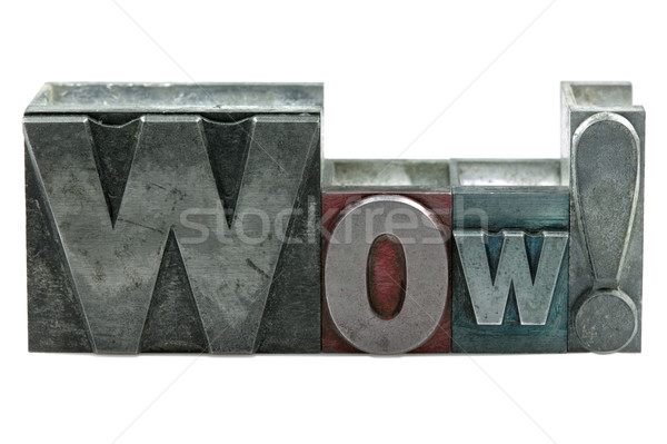 Wow woord oude afdrukken blokken Stockfoto © RTimages