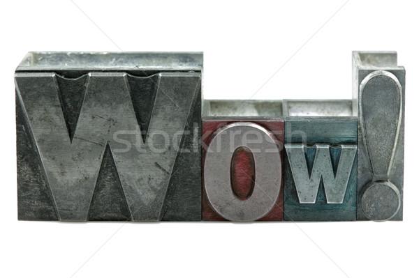 Wow parola vecchio stampa blocchi Foto d'archivio © RTimages