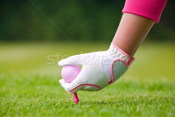 Dame golfeur rose balle sol golf Photo stock © RTimages