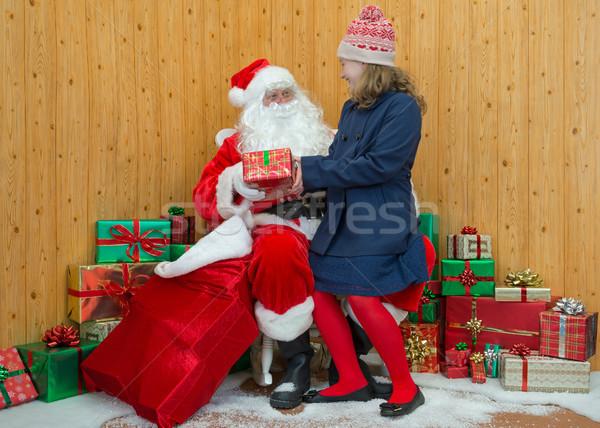 Girl visiting Santas grotto Stock photo © RTimages