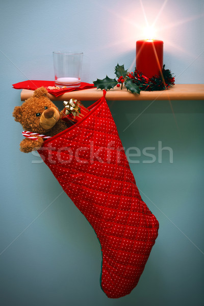 Natale stocking presenta vuota latte vetro Foto d'archivio © RTimages