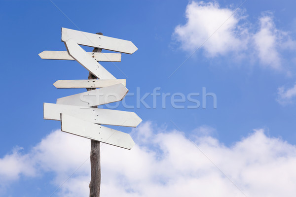 Old blank wooden signpost Stock photo © RTimages