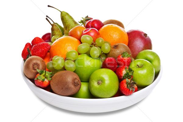 Stock fotó: Tál · friss · gyümölcs · izolált · fehér · fotó · étel