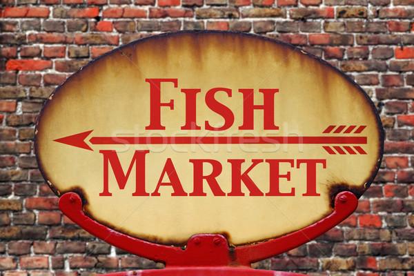 Retro sign Fish Market Stock photo © RTimages