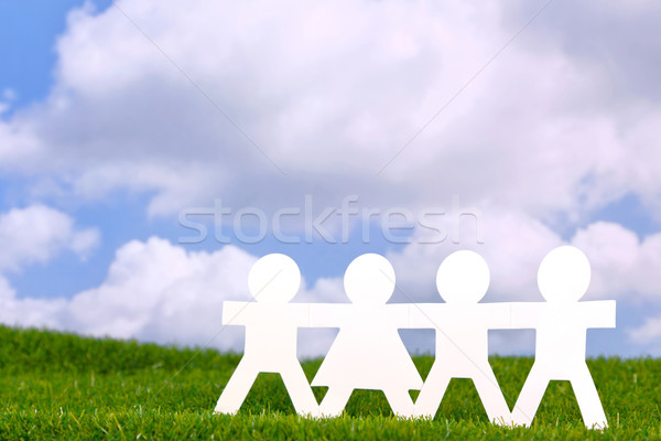 бумаги люди равенство изображение , держась за руки области Сток-фото © RTimages