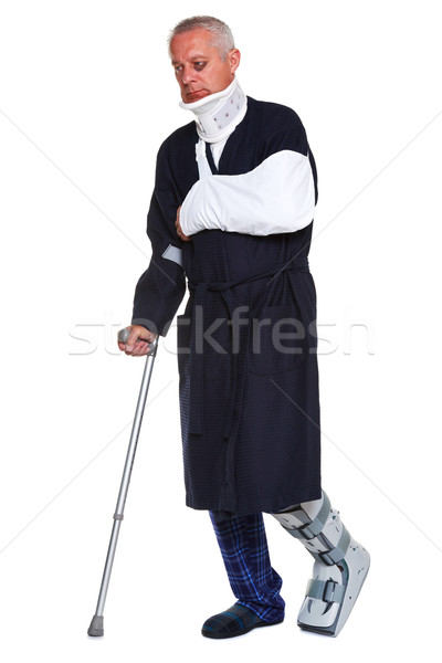 Injured man isolated on white Stock photo © RTimages