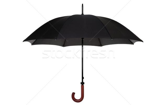 Noir parapluie isolé ouvrir bois gérer Photo stock © RTimages