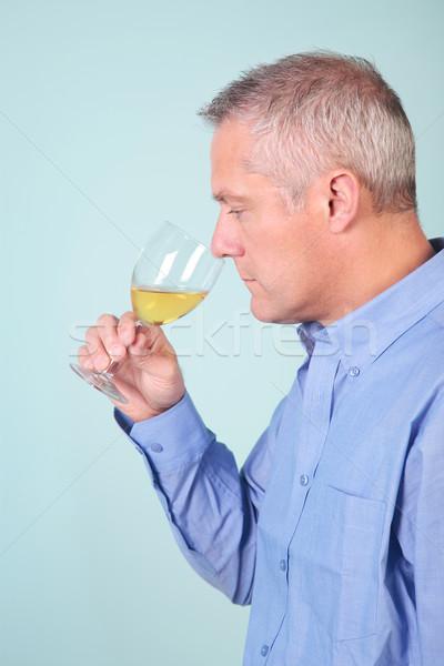 человека стекла белое вино проверить вино пить Сток-фото © RTimages