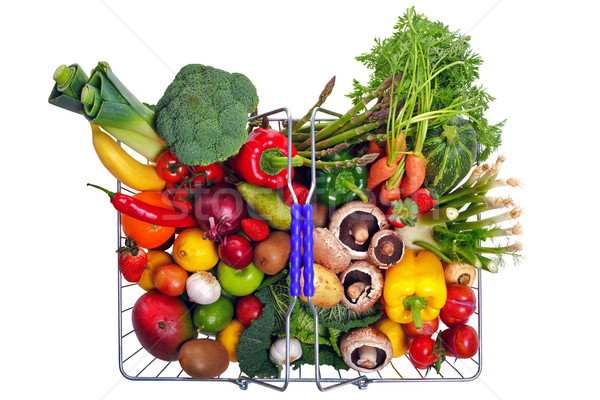 Shopping basket fruit and vegetables isolated on white Stock photo © RTimages