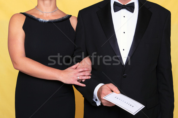 Noir cravate robe de soirée invitation photo couple Photo stock © RTimages