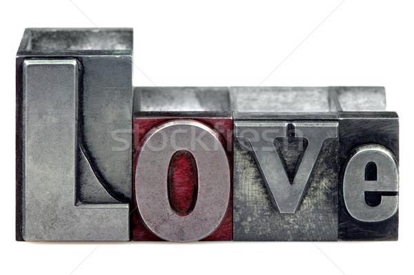 Stock fotó: Magasnyomás · szeretet · szó · öreg · nyomtatás · kockák