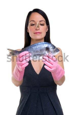 Frau Koch Fisch tragen Gummihandschuhe Kleidung Stock foto © RTimages