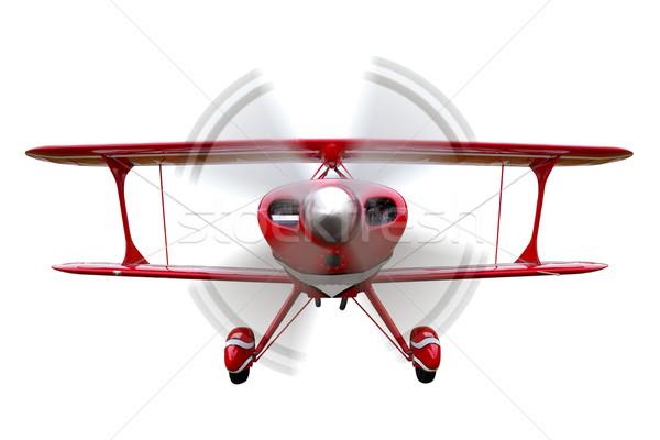 Piros kétfedelű repülőgép repülés izolált elöl kilátás Stock fotó © RTimages