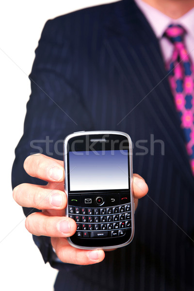 Man holding mobile close up Stock photo © RTimages