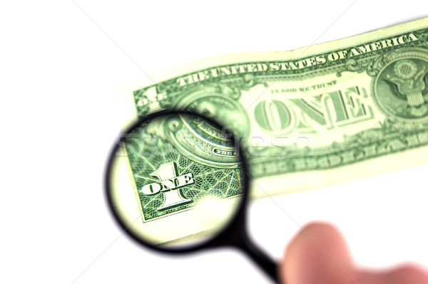 Dollár nagyító néz egy számla pénz Stock fotó © RTimages