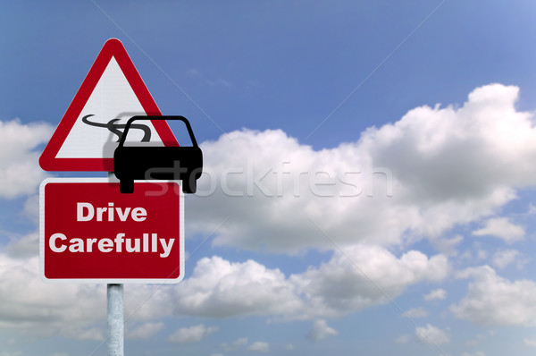 ドライブ 慎重に 道路標識 車 氷 冬 ストックフォト © RTimages