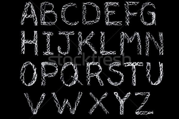 Foto stock: Branco · giz · cartas · alfabeto · lousa