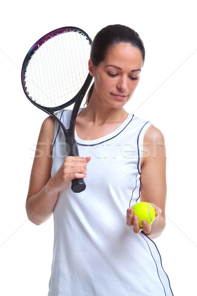 Woman tennis player holding a ball and racket Stock photo © RTimages