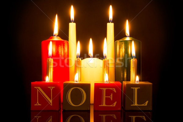 NOEL candles black background Stock photo © RTimages