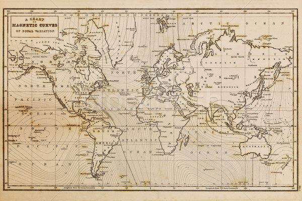 Old hand drawn vintage world map Stock photo © RTimages
