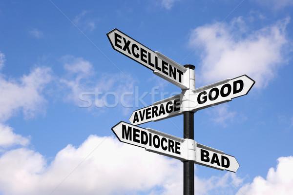 Excelente mal poste indicador palabras buena promedio Foto stock © RTimages