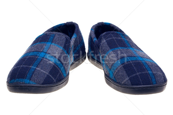 Blue tartan slippers isolated on white Stock photo © RTimages