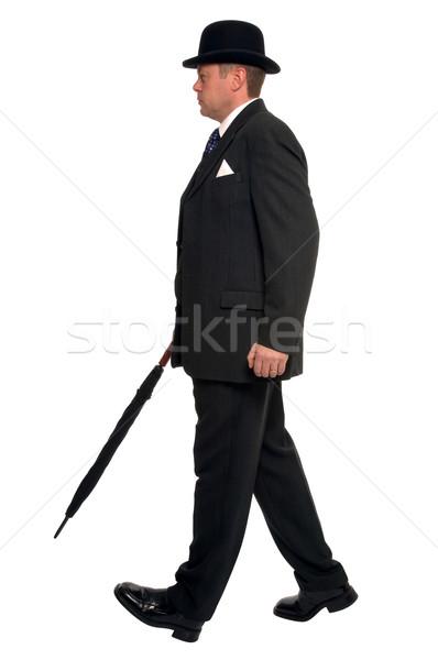 Stad lopen zakenman pin gestreept pak Stockfoto © RTimages