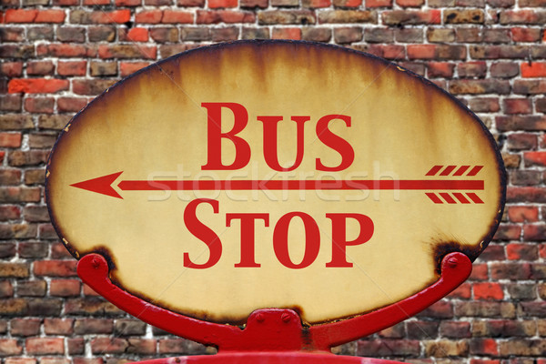 Retro sign Bus stop Stock photo © RTimages