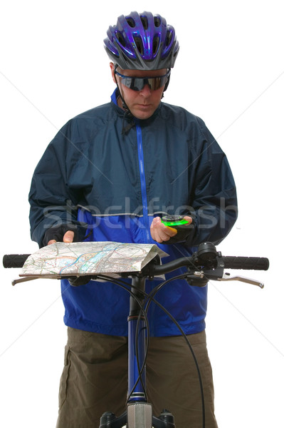 MTB rider reading a map. Stock photo © RTimages