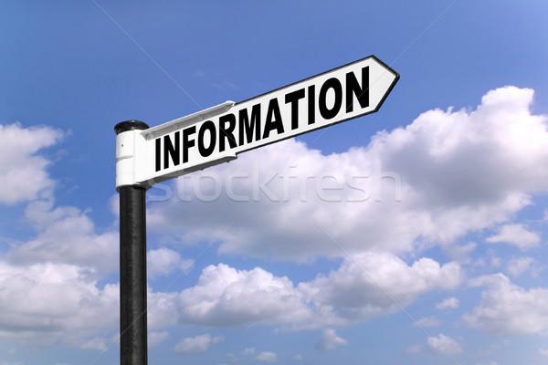 Сток-фото: информации · указатель · черно · белые · слово · синий · облачный