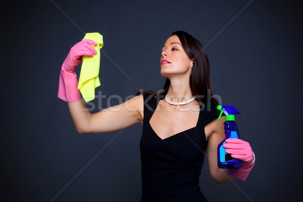 Abstract image of a glamorous housewife all dressed up to do the dusting. Stock photo © RTimages