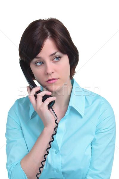 женщину телефон изолированный белый телефон Сток-фото © RTimages