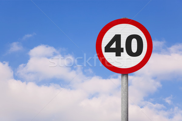 Round roadsign with 40 on it. Stock photo © RTimages