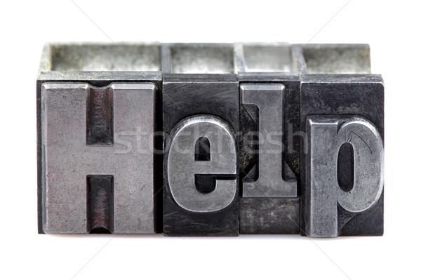 ヘルプ 言葉 古い 印刷 ブロック ストックフォト © RTimages