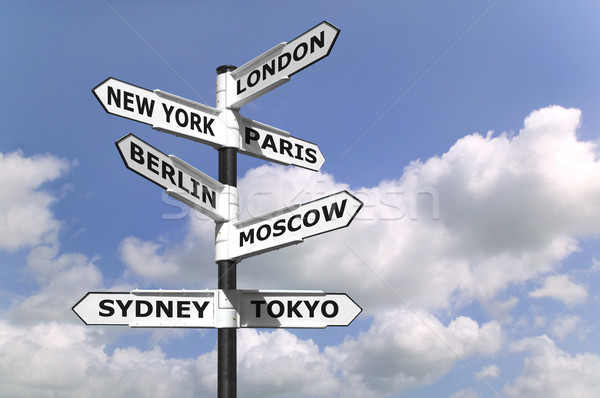 Business Capitals signpost Stock photo © RTimages