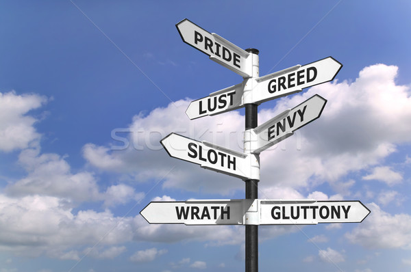 Seven dealdy sins signpost Stock photo © RTimages