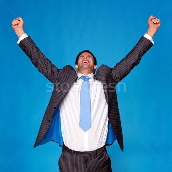 Businessman celebrating with arms raised in the air Stock photo © RTimages