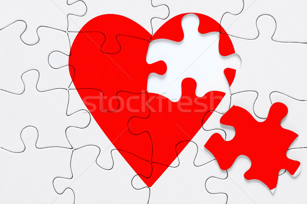 Stock photo: Broken heart jigsaw
