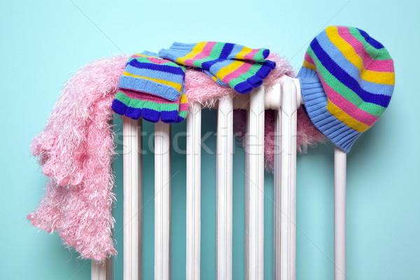 Filles chapeau écharpe gants radiateur photo Photo stock © RTimages