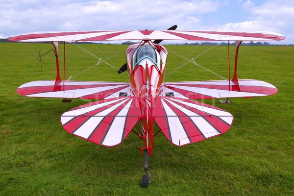 Kétfedelű repülőgép hátsó nézet piros most használt sportok Stock fotó © RTimages