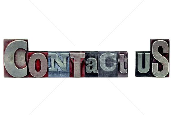 Magasnyomás kapcsolatfelvétel szavak öreg nyomtatás kockák Stock fotó © RTimages