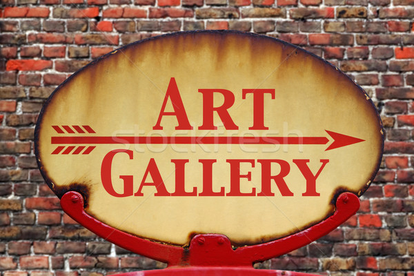 Retro felirat művészeti galéria rozsdás öreg nyíl jelzés Stock fotó © RTimages